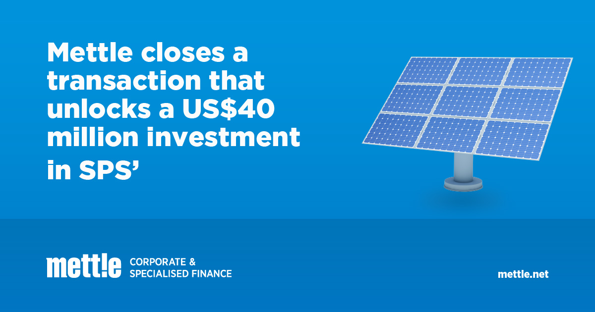Mettle Corporate & Specialised Finance Sustainable Energy